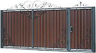 Кованые ворота и калитка В-07 с ПРОФНАСТИЛОМ