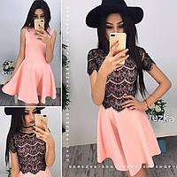 Платье с кружевной майкой в расцветках