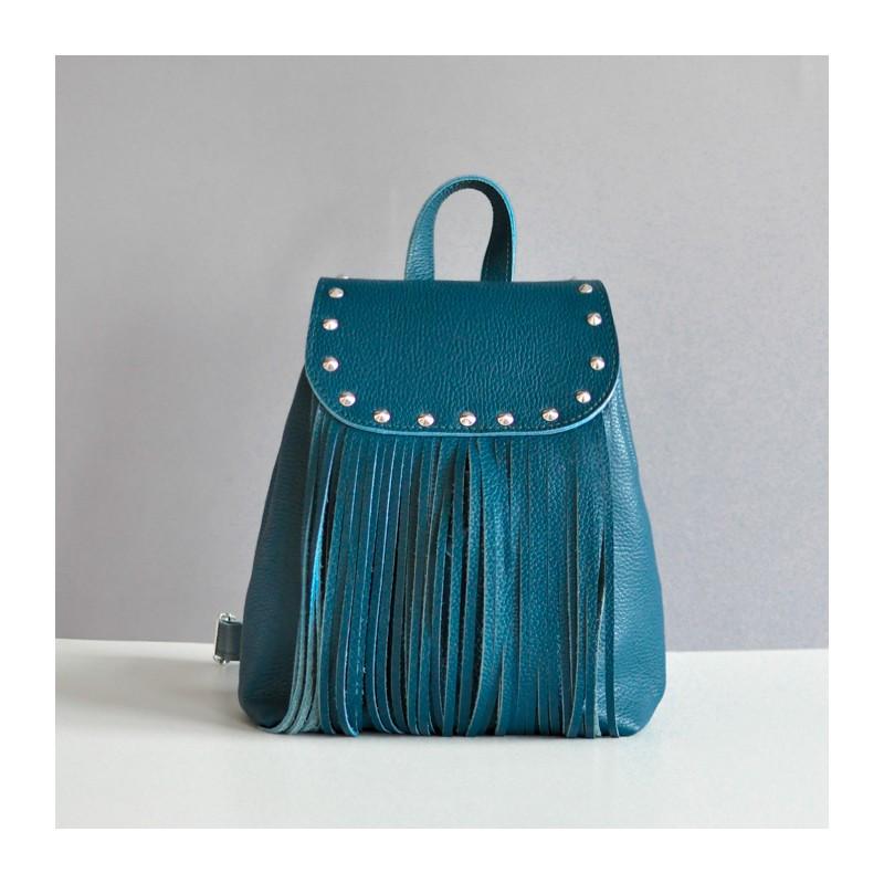 Рюкзак кожаный женский ETHNIC с бахромой