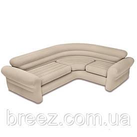 Угловой велюровый диван Intex 68575 Corney Sofa бежевый 257 х 203 х 76 см