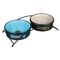 2 Миски(керамика) на подставке(металл) 0,3л для собак/щенков