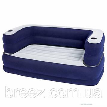 Двухмесный велюровый диван с подстаканниками Bestway 75058 синий 89 х 169 х 64 см, фото 2