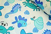 """Польская хлопковая ткань """"морской мир бирюзовый"""""""