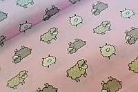 """Польская хлопковая ткань """"серые овечки на розовом"""""""