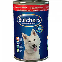 Butcher`s (Бутчерс) Basic консервы говядина + рис 1200 г.