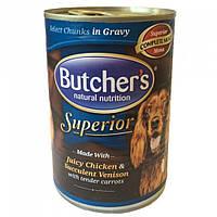 Butcher`s (Бутчерс) Superior консервы для собак курица, оленина, морковь, кусочки в соусе, 400 г.