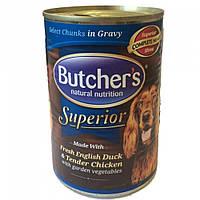 Butcher`s (Бутчерс) Superior консервы для собак курица, утка, овощи, кусочки в соусе, 400 г.