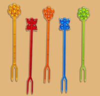 Шпажки-вилочки для канапе. фруктов Цветочки-бабочки