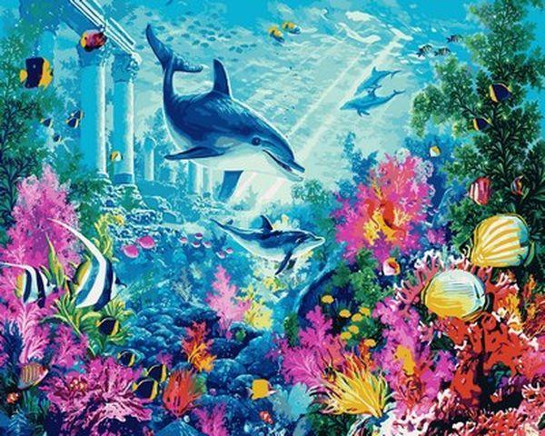 Картины по номерам 40×50 см. Подводный мир