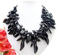 Ожерелье / Колье / Бусы из натурального Черного АГАТА (Оникса)