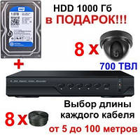 "Комплект видеонаблюдения на 8 камер +HDD 1Tb в подарок, 700 TVL ""Установи сам"" (DVR KIT 8V)"