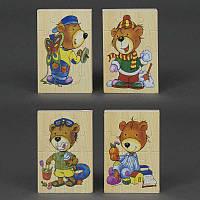 """Деревянная игра """"Пазлы мишка и кролик"""" 779-633 (300) 4 вида, в кульке"""