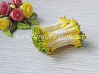 Тайские тычинки желтые каплевидные с зеленым кончиком, фото 1