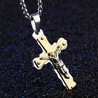 """Крест мужской с титановым покрытием """"Распятие"""", фото 1"""
