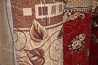 Дорожка ковровая листья/розы коричневая/красная
