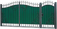 Кованые ворота и калитка ВД-07 с ПРОФНАСТИЛОМ