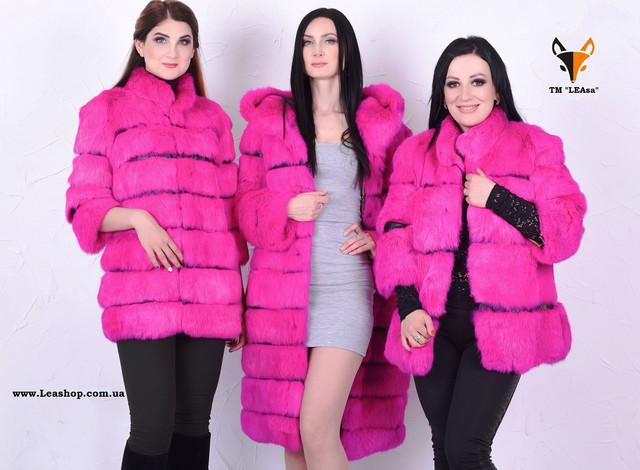 Розовый полушубок из кролика, натуральный мех