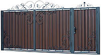 Кованые ворота и калитка В-08 с ПРОФНАСТИЛОМ