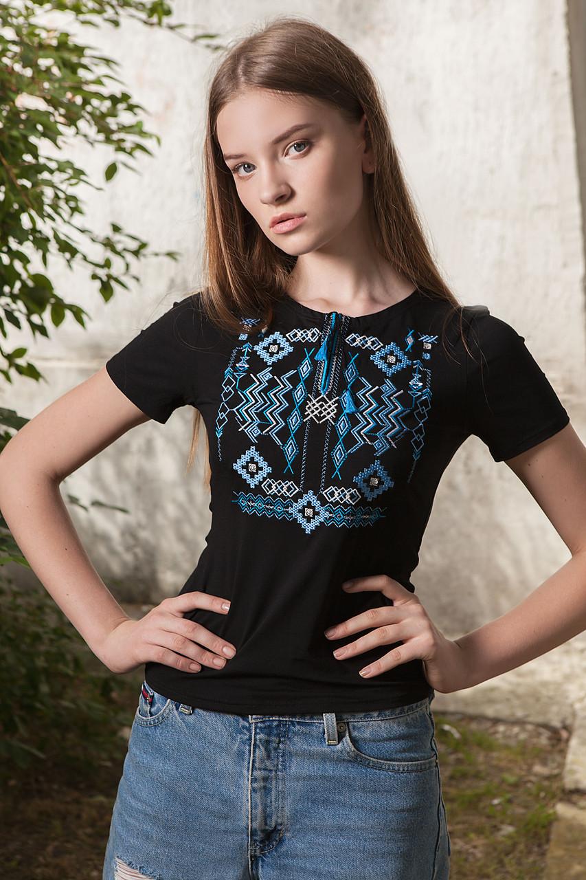 Жіноча вишиванка Етновир блакитна - короткий рукав - Інтернет-магазин