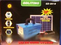 GD 8018 Портативный аккумулятор c солнечной батарей, 3 светодиодные лампы, и универсальный переходник GDLITE