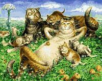 Картины по номерам 40×50 см. Кошачья семья отдыхает Художник Владимир Румянцев