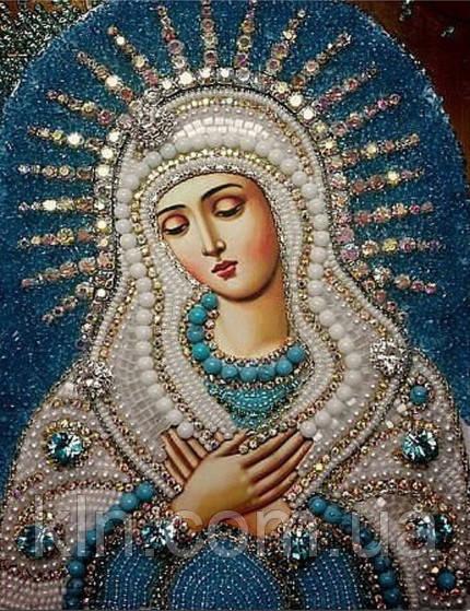 Алмазная вышивка Икона Пресвятая Богородица Умиление 34 х 24 см (арт. PR550) частичная выкладка