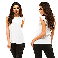Женская белая блуза без рукавов.