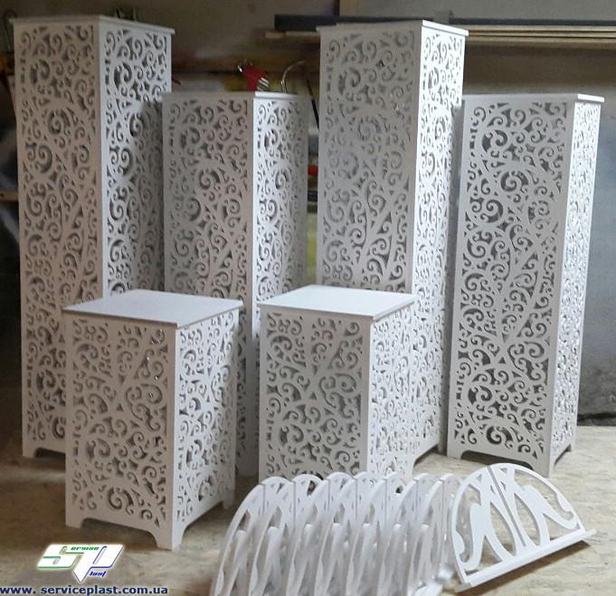 """Ажурные свадебные колоны, тумбы, подставки серии """"Амур"""""""