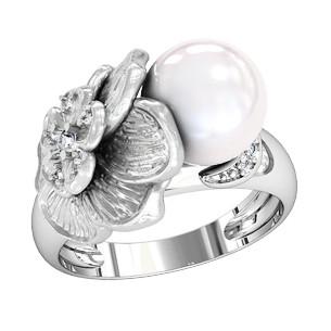 Кольцо  женское серебряное Фиалка с Жемчугом 110950