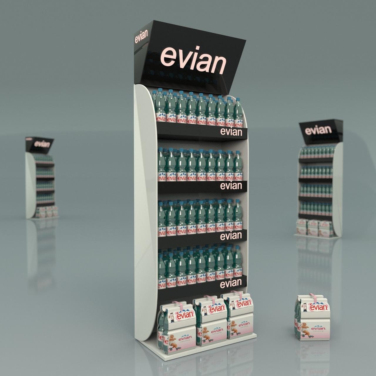 Рекламные стенды стойки для воды Evian