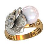 Кольцо  женское серебряное Фиалка с Жемчугом 110950, фото 2
