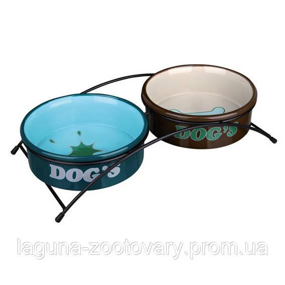 2 Миски (керамика) на подставке (металл) 1л/20см для собак