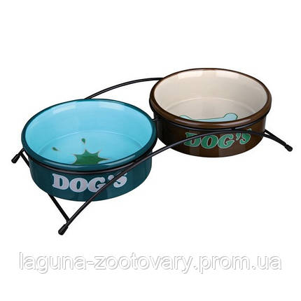 2 Миски (керамика) на подставке (металл) 1л/20см для собак, фото 2
