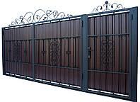 Кованые ворота и калитка В-09 с ПРОФНАСТИЛОМ