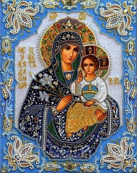 Алмазная вышивка Богородица с Иисусом 34 х 24 см (арт. PR552) частичная выкладка