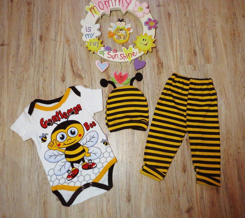 Комплект для мальчика или девочки 3ка (бодик+штанишки+шапочка) Пчелка Турция - Интернет магазин Cheholl в Киеве