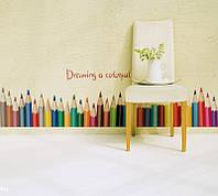 """Интерьерная наклейка на стену """"Разноцветные карандаши"""""""