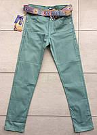 Цветные брюки-джинсы на мальчика 9-12 лет мятный