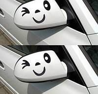 "Наклейка на авто, наклейки на зеркала автомобиля  ""Улыбка на зеркала, Улыбка на ноутбук"" 2шт (10*8см)"