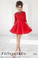 Пышное платье из неопрена красное