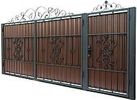 Кованые ворота и калитка В-10 с ПРОФНАСТИЛОМ
