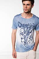 Мужская футболка De Facto бело-голубого цвета с надписью на груди Creative