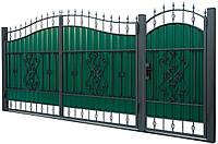 Кованые ворота и калитка ВД-10 с ПРОФНАСТИЛОМ