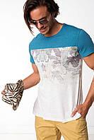 Мужская футболка De Facto бежевого цвета с синими плечами, фото 1