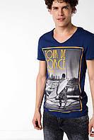 Мужская футболка De Facto синего цвета с картинкой на груди