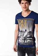 Мужская футболка De Facto синего цвета с картинкой на груди, фото 1