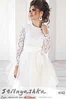 Гипюровое платье с фатиновой юбкой белое