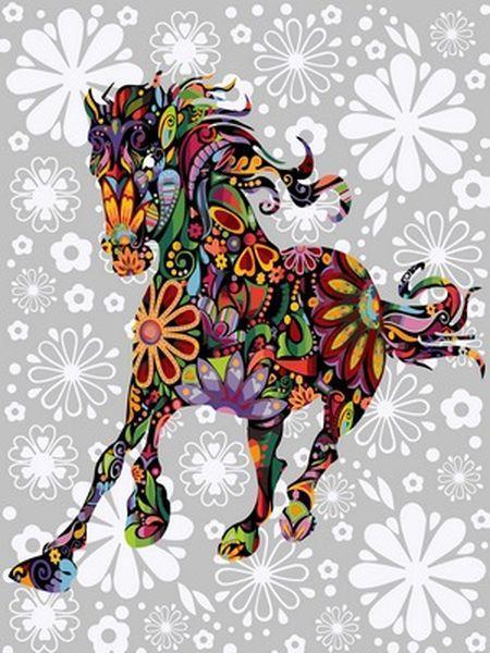 Раскраска по цифрам 40×50 см. Цветочная лошадь