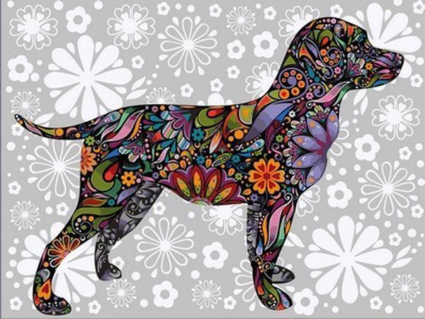 Раскраска по цифрам 40×50 см. Цветочная собака