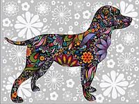 Раскраска по цифрам 40×50 см. Цветочная собака, фото 1